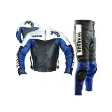 Yamaha R6 Blue & White Biker Leather Suit