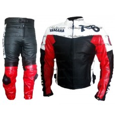 Yamaha R6 Red & White Biker Leather Suit