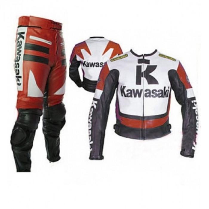 Kawasaki Red & White Motorcycle Leather Biker Racing Suit