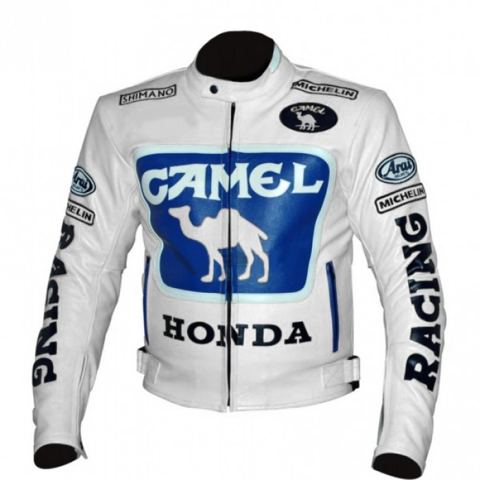 Camel White honda motorbike leather jacket