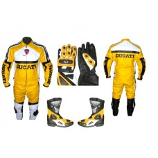 Mens ducati yellow motorcycle leather biker suit