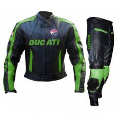 Ducati Corse Black Green Leather Suit
