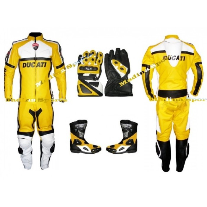 MEN'S DUCATI CLASSIC YELLOW MOTORCYCLE LEATHER SUIT SET