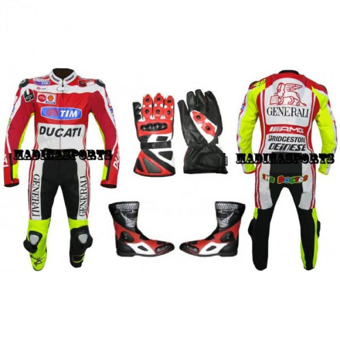 Men's Ducati Valentino Rossi Biker Motorbiker Leather Suit Set