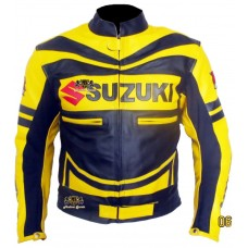 Suzuki Gxsr Yellow Black Motorbike Scooter Leather Jacket Men's
