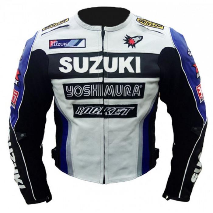 Suzuki Joi Rocket Blue White Yoshimura Biker leather jacket