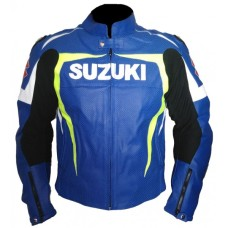 Suzuki Men GSXR GSX-R Gixxer Leather Jacket Blue Yellow Men's