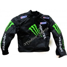 SUZUKI MONSTER BLACK LEATHER JACKET MOTORCYCLE BIKER