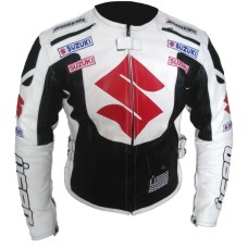 Suzuki Motorbike Icon Black White Leather Jacket Men's