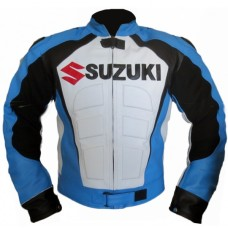 Suzuki SkyBlue Motorcycle Motorbike Leather Jacket Men's