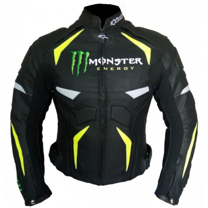 Alpinestars Black & Green Monster Biker Leather Jacket