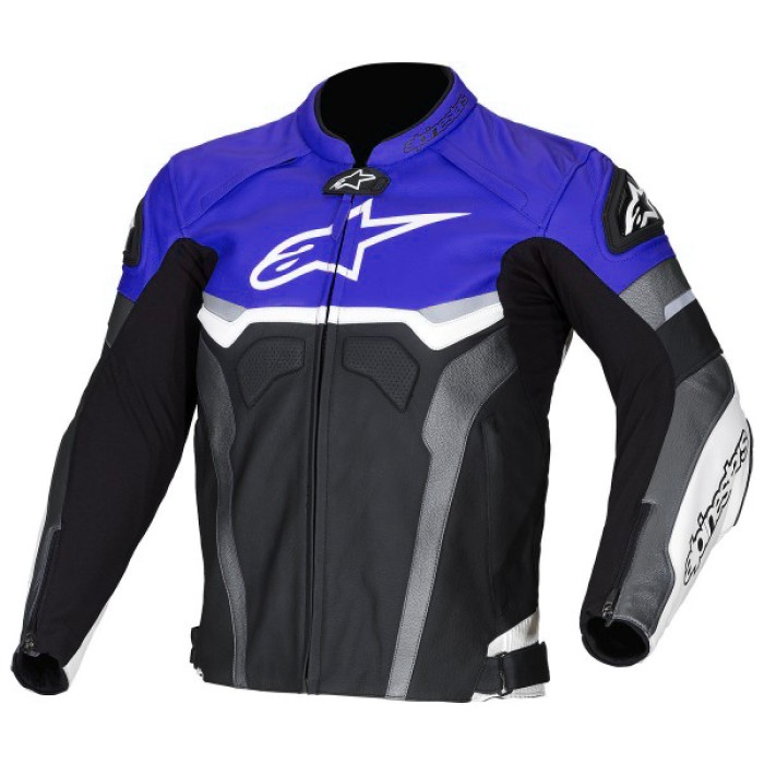Alpinestars Blue Croes Celer Biker Leather Jacket