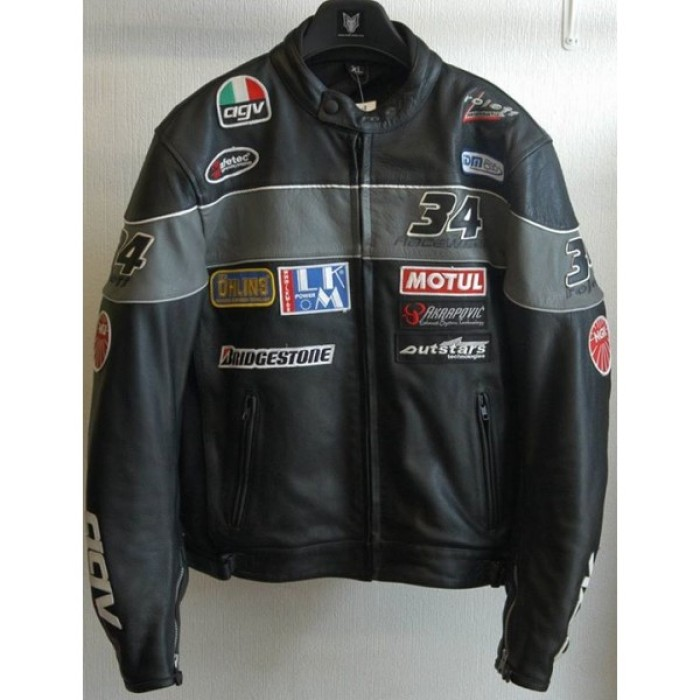 Black Biker Leather biker jacket stripped