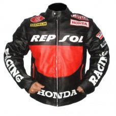 Honda Racing Classic Black Leather Motorcycle Jacket