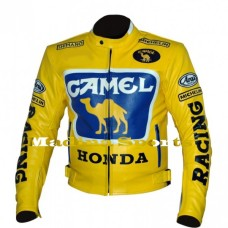 CAMEL YELLOW HONDA RACING LEATHER JACKET FOR MEN'S