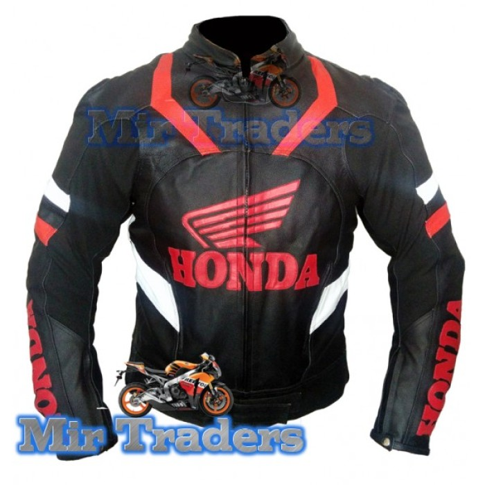 Honda Wings Men Black MotorBike Leather Men Jacket