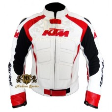 Men KTM White Motorcycle Leather Jacket Men's