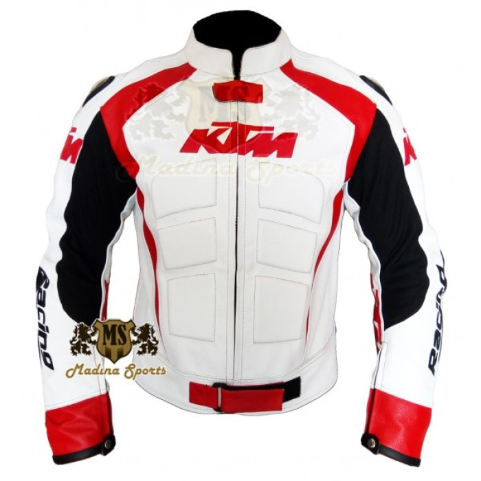 Men KTM White Motorcycle Leather Jacket Men's