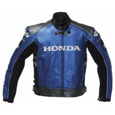 MEN'S HONDA ROCKET BLUE BIKE LEATHER JACKE STREET RACING