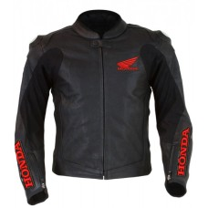 Men's Honda Wings Black Motorbike Perforated Leather Jacket