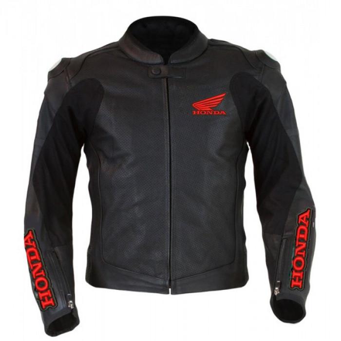 Men's Honda Wings Black Motorbike Perforated Leather Jacket