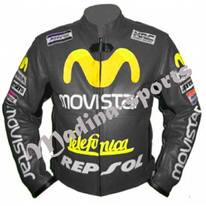 Moviestar Honda Repsol Gray Motorcycle Leather Jacket
