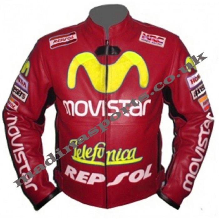 Moviestar Honda Repsol Red Motorcycle Leather Jacket