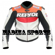 Repsol Men's One Piece Motorbike Racing Leather Jacket