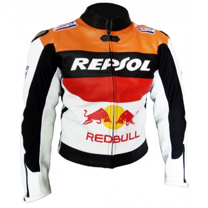 Repsol Men's RedBul Leather jacket Motorbike Racing Leather Jacket