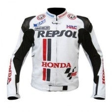 REPSOLE HONDA WHITE SPORTS BIKER LEATHER JACKET