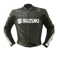NEW SUZUKI GSXR RACER LEATHER JACKET MOTORCYCLE BIKER
