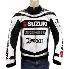New Suzuki Joe Rocket Yoshimura Black Motorcycle Leather Jacket