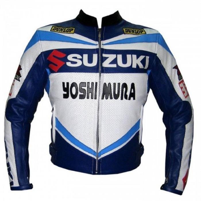 Suzuki blue and white sports biker leather jacket