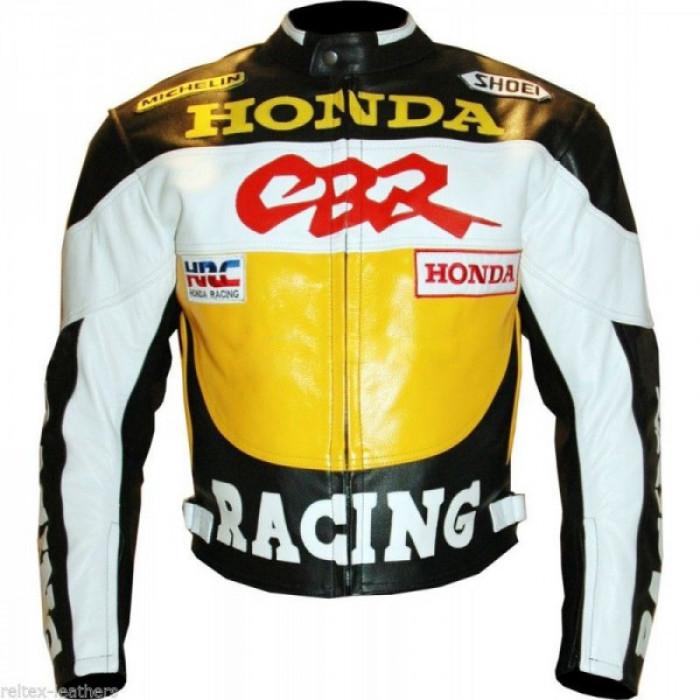 Honda CBR Motorcycle Leather Biker Racing Jacket