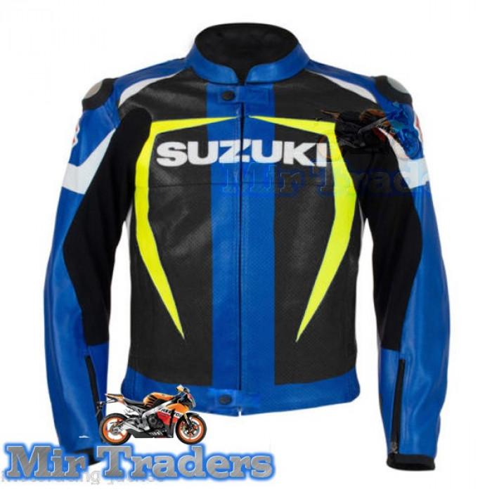 Suzuki Gxsr Black Blue Yellow Motorbike Leather Jacket Men's