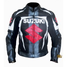 Suzuki Gxsr Gray Black White Motorbike Leather Jacket Men's