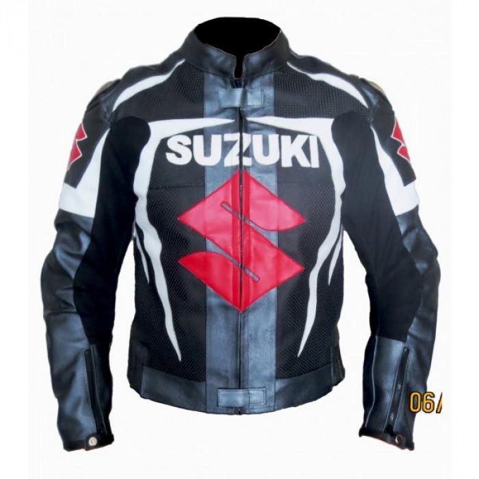 Suzuki Gxsr Gray Black White Motorbike Leather Jacket Men's