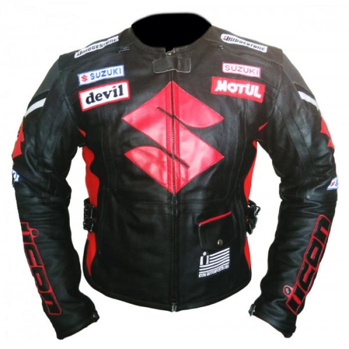 Suzuki Icon Black Motorcycle Armored Biker Cowhide Leather Jacket