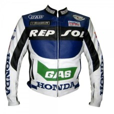 Honda Gas Repsol White Blue Leather jacket