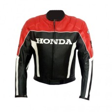 HONDA MEN'S MOTORCYCLE LEATHER JACKET, BIKER JACKET RED