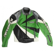 KAWASAKI NINJA MOTORCYCLE GREEN BLACK BIKER LEATHER RACING JACKET