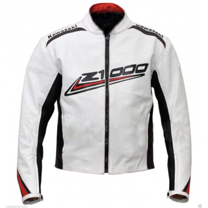 Kawasaki Z1000 White Black Strip Leather Biker Jacket