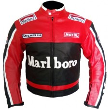 Marlboro Motorcycle Racing Leather Jacket Men