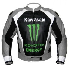 Men Gray Monster Kawasaki Motorcycle Biker Racing Leather Jacket