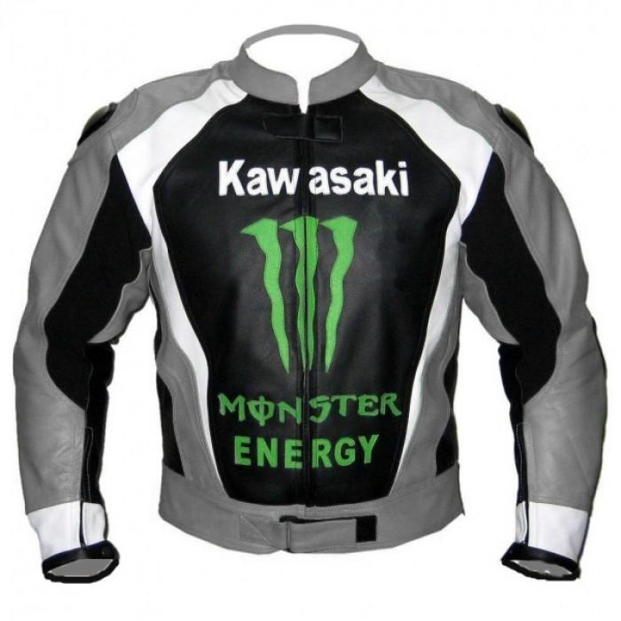 Men Gray Monster Kawasaki Motorcycle Biker Racing Leather Jacket