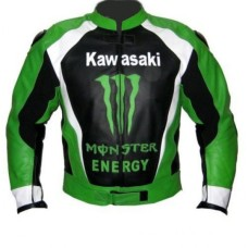 Men Green Monster Kawasaki Motorcycle Biker Racing Leather Jacket