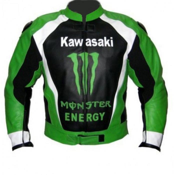 Men Green Monster Kawasaki Motorcycle Biker Racing Leather Jacket