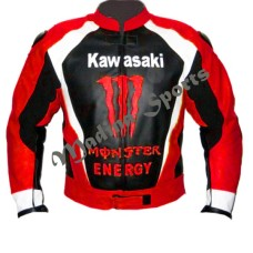 Men Red Monster Kawasaki Motorcycle Biker Racing Leather Jacket