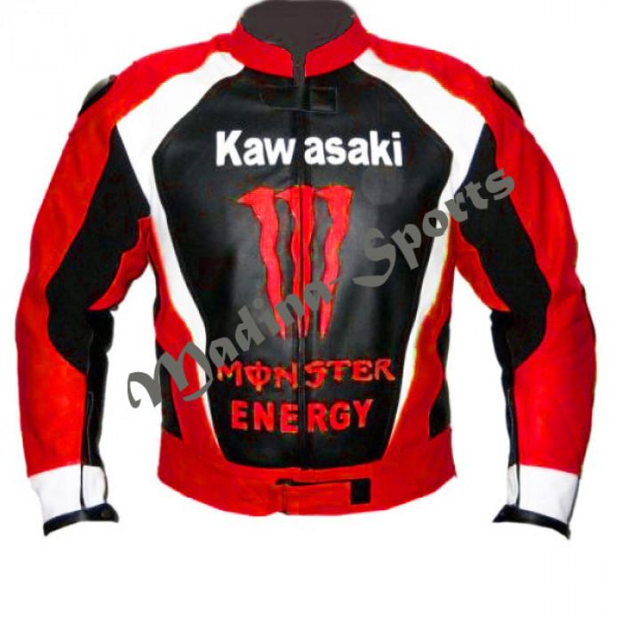Men Red Monster Kawasaki Motorcycle Biker Racing Leather Jacket