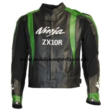 Kawasaki Ninja Motorcycle Mens Black Green Racing Biker Leather Jacket